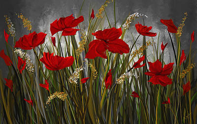 Painting - Poppies Galore - Poppies At Night Painting by Lourry Legarde