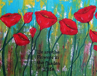 Painting - Poppies Garden Of Life Series Abstract by Cindy Micklos