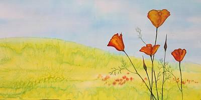 Poppies In A Field Original by Carolyn Doe