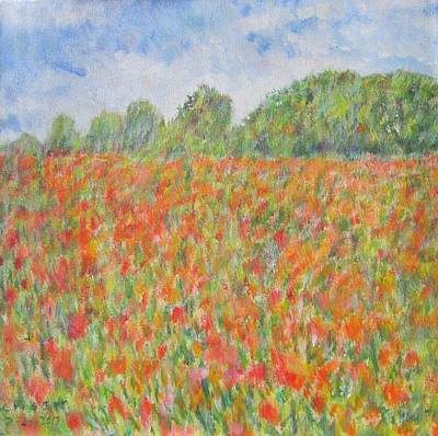 Poppies In A Field In Afghanistan Art Print