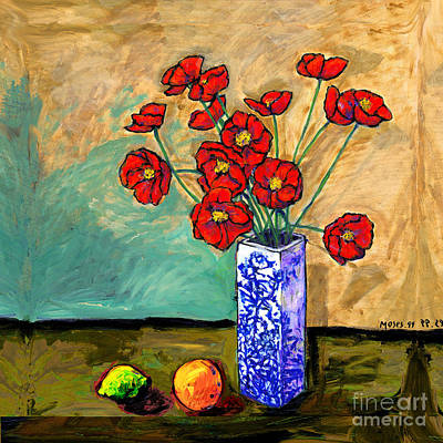 Poppies In A Vase Art Print