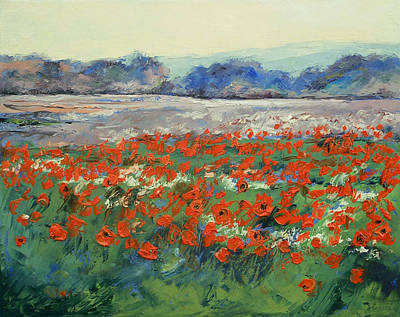 Field. Cloud Painting - Poppies In Flanders Fields by Michael Creese
