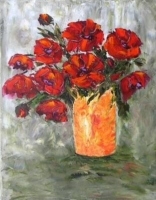 Poppies In Orange Vase Art Print