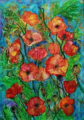 Poppies In Storm Art Print by Janet Immordino
