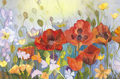 Orange Poppy Painting - Poppies In The Light by Sandy Linden