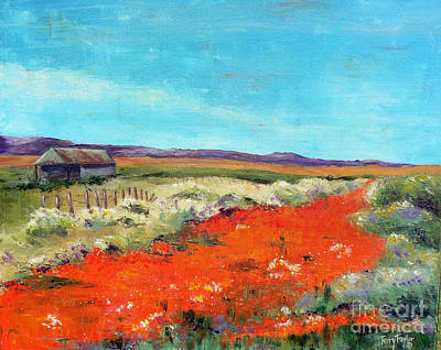 Art Print featuring the painting Poppies In The Meadow by Terry Taylor