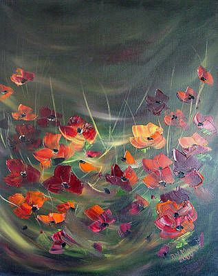 Art Print featuring the painting Poppies In The Shadow by Dorothy Maier