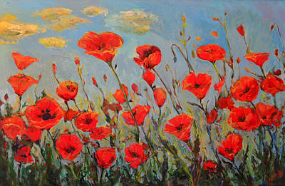 Painting - Poppies In The Wind by Nanci Cook