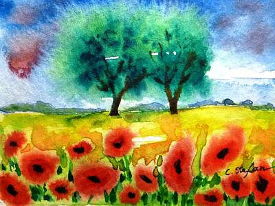 Painting - Poppies In Tuscany by Cristina Stefan