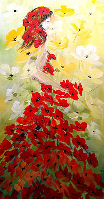 Art Print featuring the painting Poppies Lady by Dorothy Maier