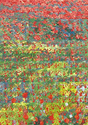 Green. 2012 Painting - Poppies by Leigh Glover