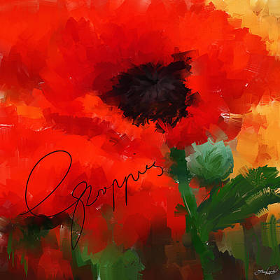 Orange Poppy Painting - Poppies by Lourry Legarde