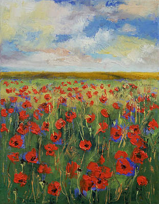 Impasto Oil Painting - Poppies by Michael Creese