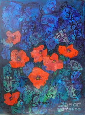 Mini Arora Collages Mixed Media - Poppies by Mini Arora