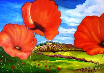 Poppies Of Provence Art Print by Therese Alcorn