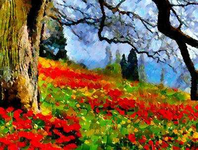 Poppies On A Hill Art Print by Georgiana Romanovna