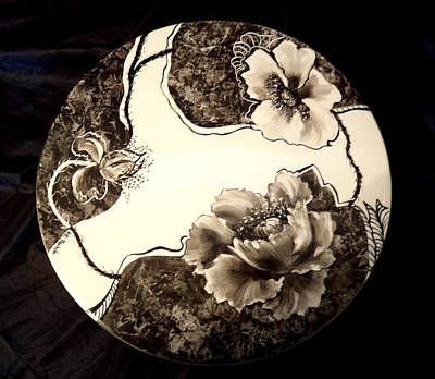 Glass Art - Poppies On Cake Plate With Stand by Patricia Rachidi