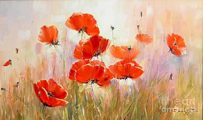 Poppies On Field Art Print