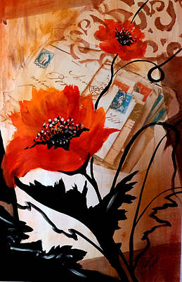 Painting - Poppies On Letters by Patricia Rachidi
