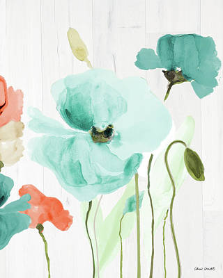 On Wood Painting - Poppies On Wood I by Lanie Loreth