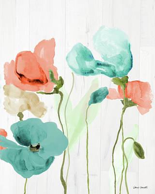 On Wood Painting - Poppies On Wood II by Lanie Loreth