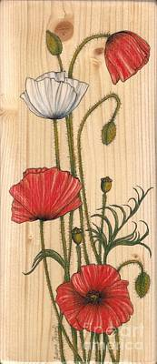 Poppies Drawing - Poppies On Wood by Snezana Kragulj
