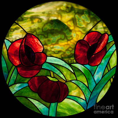Youghiogheney Glass Glass Art - Poppies Pendant by David Kennedy