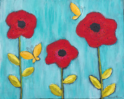 Turquoise Mixed Media - Poppies by Rischa Heape