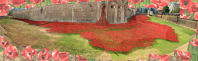Poppies Tower Of London Collage Art Print