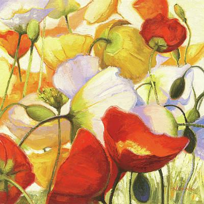 Orange Poppy Painting - Poppies Up Close by Shirley Novak