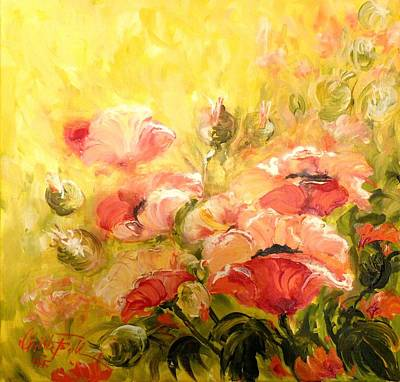 Painting - Poppies Yellow Red by Christa Friedl