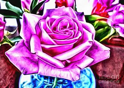 Broadcast Painting - Poppin Purple Rose by Catherine Lott