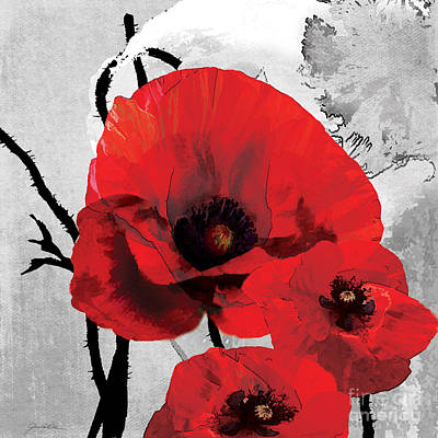 Abstract Red Black Grey Painting - Poppy Black And White B by Grace Pullen