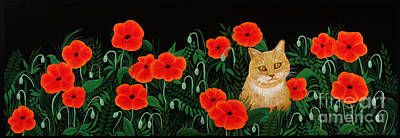 Painting - Poppy Cat by Billinda Brandli DeVillez