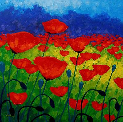 Colorful Contemporary Painting - Poppy Corner II by John  Nolan