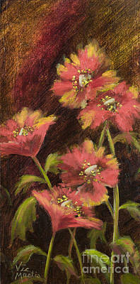 Gold Nugget Painting - Poppy Delight By Vic Mastis With Oil And Gold Leaf by Vic  Mastis