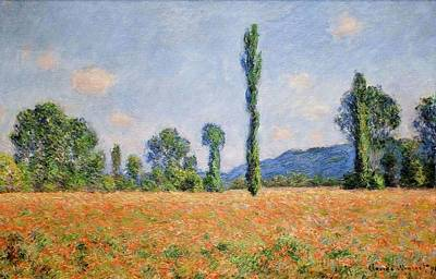 Poppies Field Painting - Poppy Field - Giverny by Claude Monet