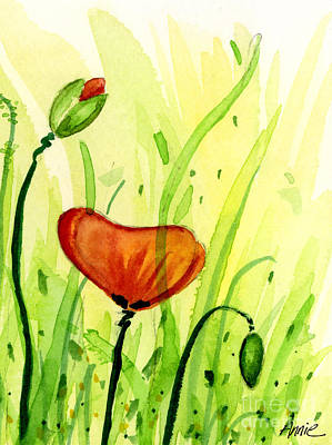 Poppy Field 2 Of 2 Art Print by Annie Troe