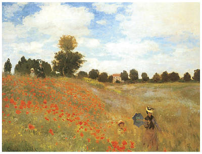 Poppies Field Painting - Poppy Field At Argenteuil by Claude Monet