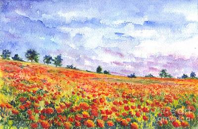 Poppies Field Drawing - Poppy Field by Carol Wisniewski