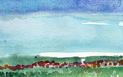 Floral Royalty-Free and Rights-Managed Images - Poppy Field- landscape painting by Linda Woods