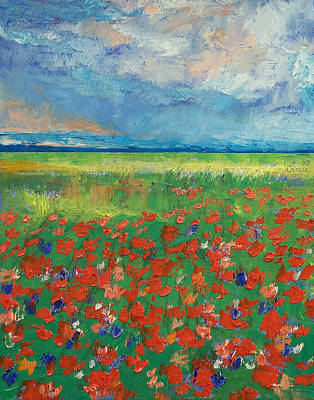 Poppies Field Painting - Poppy Field by Michael Creese