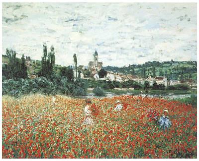 Poppies Field Painting - Poppy Field Near Vetheuil by Claude Monet
