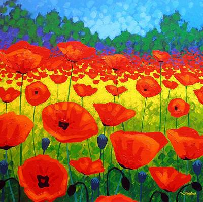 Vibrant Painting - Poppy Field V by John  Nolan