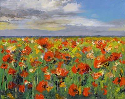 Poppy Field With Storm Clouds Art Print by Michael Creese