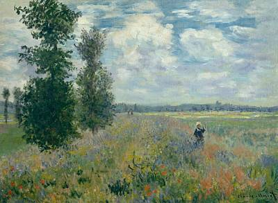 Poppies Field Painting - Poppy Fields Near Argenteuil by Claude Monet