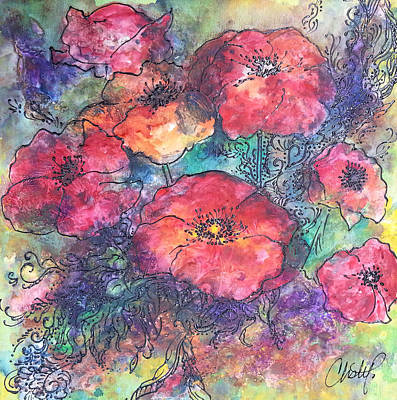 Art Print featuring the painting Poppy Flower Splash Of Spring by Christy  Freeman