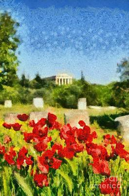 Hephaestus Wall Art - Painting - Poppy Flowers In Ancient Market Of Athens by George Atsametakis