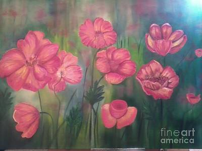 Phthalo Blue Painting - Poppy Flowers by Ordy Duker
