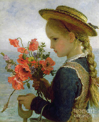 Of Flowers Painting - Poppy Girl by Karl Wilhelm Friedrich Bauerle